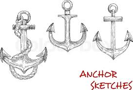 old nautical anchors of medieval sailboats or pirate ships