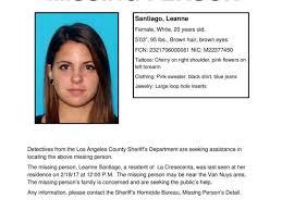 Seeking Los Angeles Authorities Seeking Help Searching For Missing La Crescenta