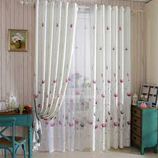 Purple Floral Curtains Refined Chenille Floral Curtain In White Color Printed With Purple