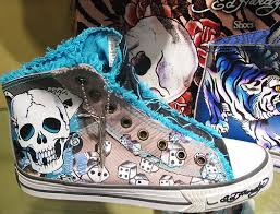 shoe crazed ed hardy shoes with skulls dice and tiger