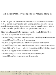Sample Customer Service Resumes Top8customerservicespecialistresumesamples 150424214916 Conversion Gate01 Thumbnail 4 Jpg Cb 1429930206