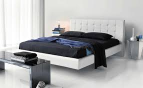 contemporary double floating beds for beautiful bedroom with cream