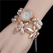 ladies pearl bracelet watches images Hot luxury flower pearl bracelet watch women fashion wristwatches jpg