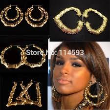 rihanna earrings 2018 rihanna basketball gold tone heart bamboo joint