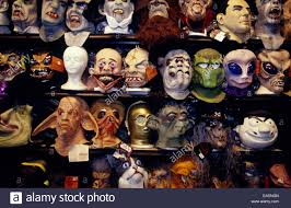 halloween masks on display stock photo royalty free image