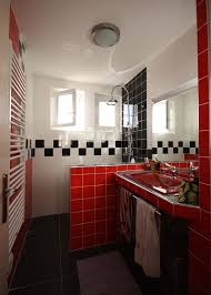 Red Black Shower Curtain Red And Black Bathroom Wall Decor White Brick Wall Checkered Tile