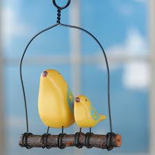 momma and baby yellow bird swing ornament birds butterflies