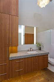 Bamboo Bathroom Cabinet Modern Bathroom Vanity Done With Bamboo And Top Mount Sinks Www