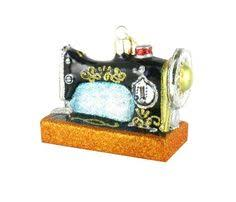 sewing machine ornament ornament glass and ornament