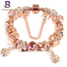 fine charm bracelet images Baopon rose gold fine bracelet copper alloy big hole bead with jpg