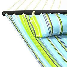 blue and green quilted fabric hammock with pillow spreader bar