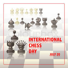 congratulation poster chess background international chess day card july 20