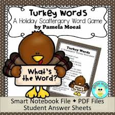 thanksgiving turkey words scattergory type word