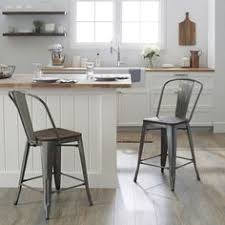 Tabouret Wood Seat Brushed Copper Bistro Counter Stools Set Of 2