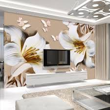 online get cheap lily wallpaper aliexpress com alibaba group custom mural wallpaper 3d stereo embossed lily living room tv background wall painting butterfly flower wallpaper