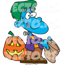 vectorof fall halloween background clip art free vector of a cartoon frankenstein boy trick or treating for candy