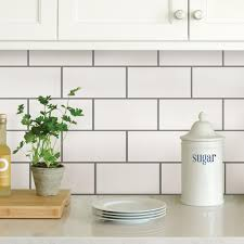 pictures of subway tile backsplashes in kitchen wallpops white subway peel stick backsplash tiles nh2363 the home