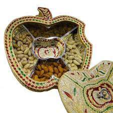 indian wedding gift box apple shaped gift box with wooden base brass covering and meena