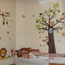 Monkey Nursery Wall Decals Jungle Nursery Tree Animals Birds Owl Vinyl Wall Stickers