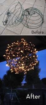 how to turn wire baskets into a light globe plant basket