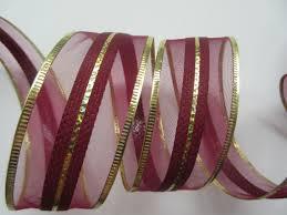 burgundy wired ribbon burgundy semi sheer ribbon with gold metallic edges