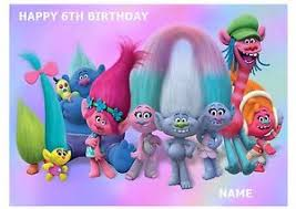 trolls troll a4 edible icing sheet birthday cake topper
