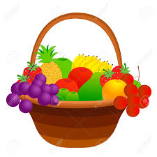 illustration of a fruit basket with mixed fruits including apple