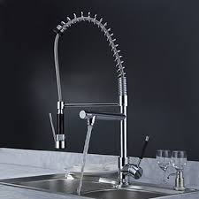Modern Faucets Kitchen Solid Brass Kitchen Faucet With Two Spouts Chrome Finish