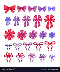 decorative bows set of decorative bows gift ribbons present decor vector image