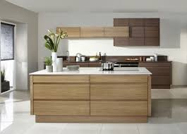 modern kitchen with handleless doors and oak cabinets sleek
