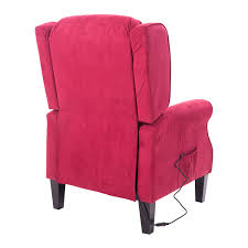 Red Club Chair Aosom Homcom Heated Vibrating Suede Massage Recliner Chair Red