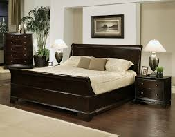espresso wooden bed linen with footboard and upholstered headboard