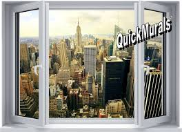 big city window 1 piece peel stick wall mural