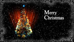 merry christmas greeting card with glowing christmas tree version
