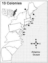 the 13 colonies of america clickable map