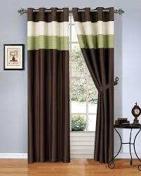Green And Brown Curtains Modern Green Brown Beige Faux Silk Taffeta