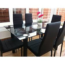 Leather Dining Room Furniture Black Glass Dining Table Set With 4 Faux Leather Chairs Brand New