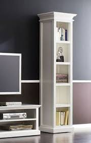 the whitehaven painted tall narrow bookcase with drawer is a