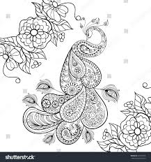 zentangle peacock totem flowersfor anti stock illustration