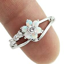 rings with stones images Haimis tiny cute white fire opal stones flower women opal rings jpg
