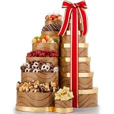 swirl gift tower christmas gift baskets arttowngifts