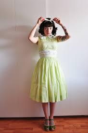 lime green cotton vintage dresses olive green swedish hasbeens