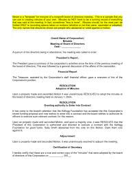 board of directors meeting minutes sample templates resume