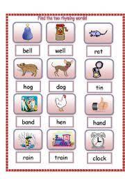 esl kids worksheets find the two rhyming words