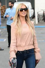 christina el moussa wears dark blue jeans out and about in