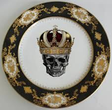 personalized china plates black gold skull or custom dessert plate 6 personalized