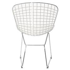 White Wire Chair Amazon Com Modway Bertoia Style Side Chair With White Cushion