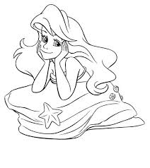 ariel ariel mermaid thinking prince coloring