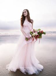 strapless blush floor length lace and tulle beach wedding dress