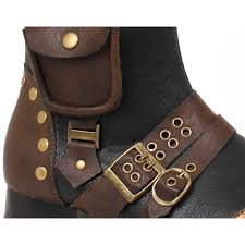 mens low heel amos steampunk style boot in black multi pockets